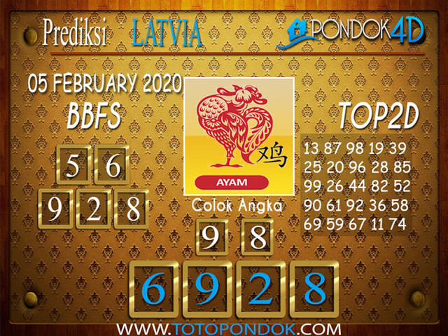 Prediksi Togel LATVIA POOLS PONDOK4D 05 FEBRUARY 2020