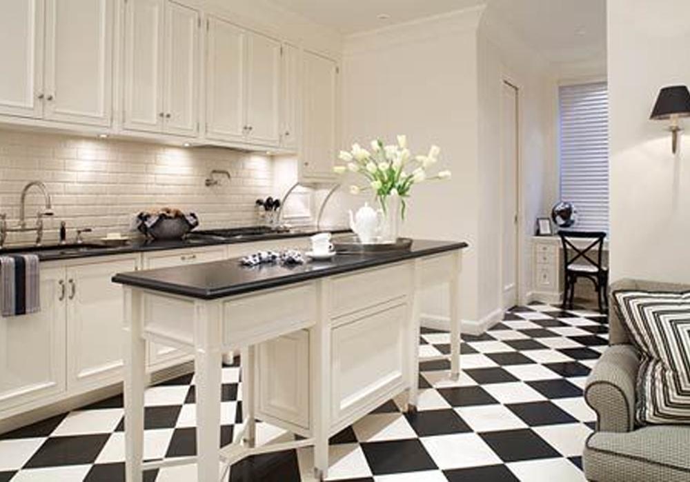 desain lantai granit Black white granite design