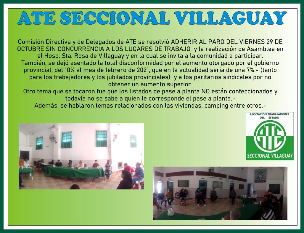ATE SECCIONAL VILLAGUAY ADHIERE AL PARO DEL 29/10