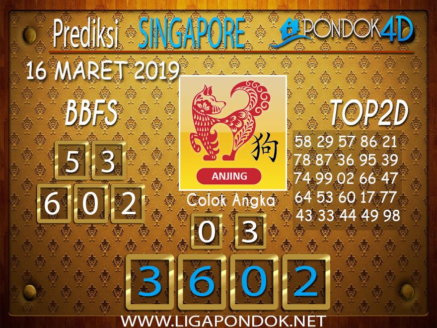 Prediksi Togel  SINGAPORE  PONDOK4D 16 MARET 2019
