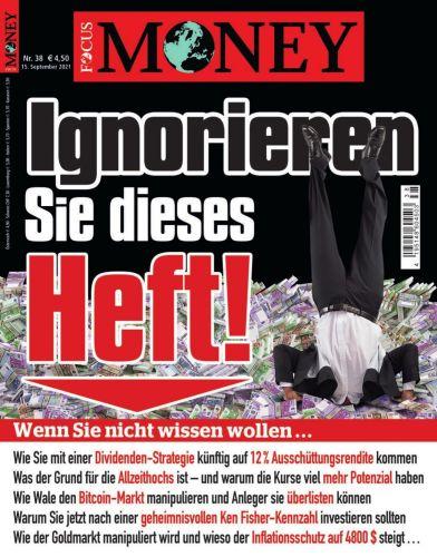 Cover: Focus Money Finanzmagazin No 38 vom 15  September 2021