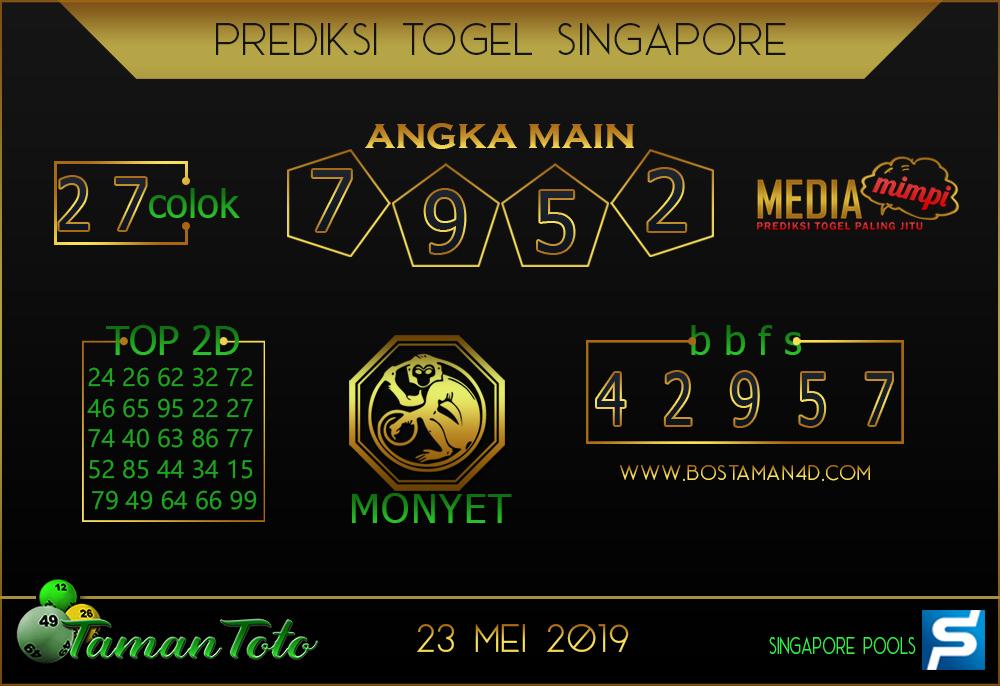 Prediksi Togel SINGAPORE TAMAN TOTO 23 MEI 2019