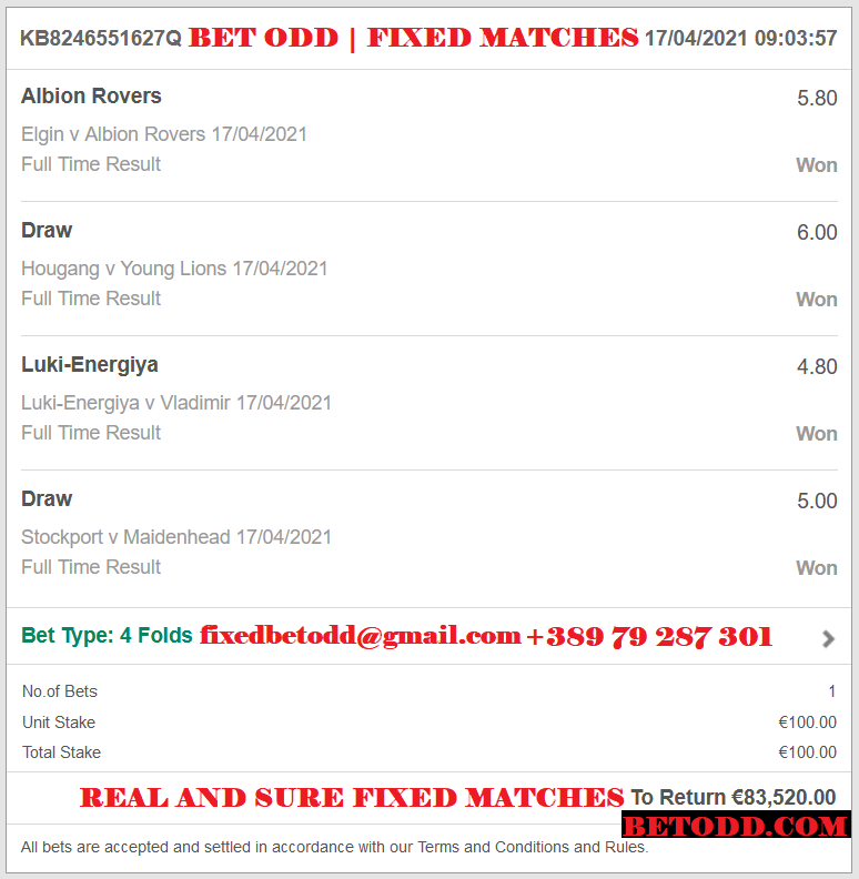 BET ODD VIP TICKET FOR 17.04.2021 | FOUR COMBINED FIXED MATCHES