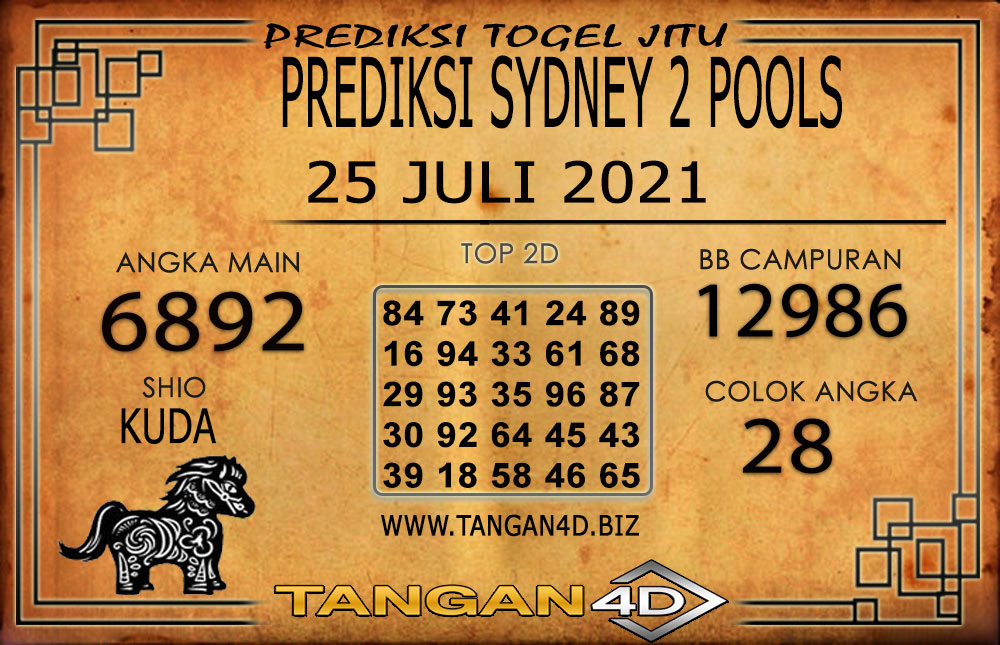 PREDIKSI TOGEL SYDNEY2 TANGAN4D 25 JULI 2021