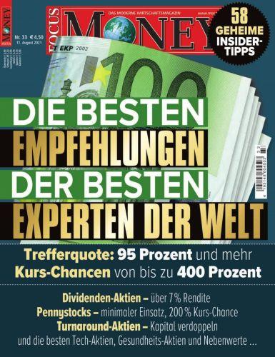 Cover: Focus Money Finanzmagazin No 33 vom 11  August 2021