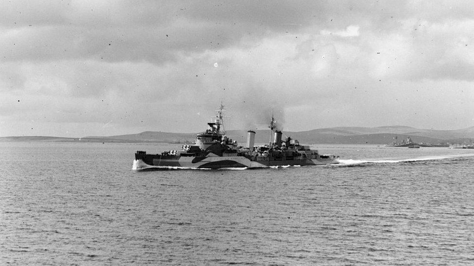 Cruiser Belfast in the Normandy area during Operation D. Day (Archival photos)
