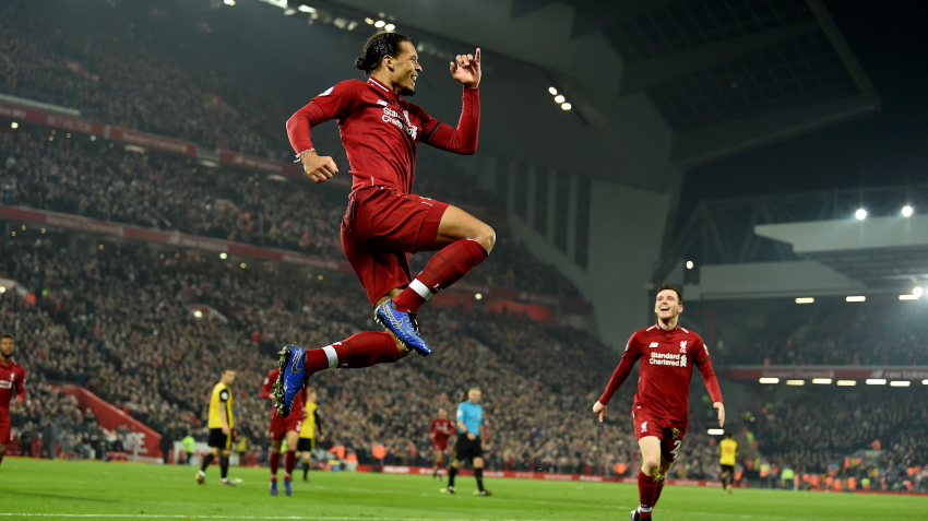 Virgil Van Dijk Celebrates After Scoring His Second Header Of The Evening In Liverpool S 5 0 Win Over Watford Soccerbanners