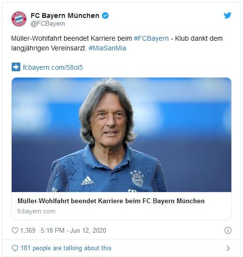 Sportbild: დოქტორ მიულერ-ვოლფარტი ბაიერნს ემშვიდობება