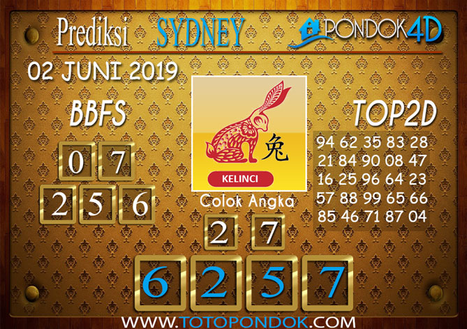 Prediksi Togel SYDNEY PONDOK4D 02 JUNI 2019