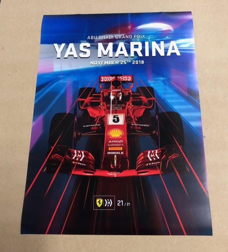 2018 ABU DHABI  F1 GRAND PRIX RACE POSTER