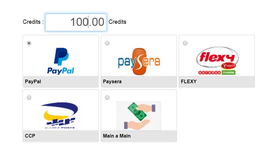 وسائل الدفع لتعبئة حسابك على السيرفر (فليكسي,بريد الجزائر,بريدي موب,بايبال, بايسيرا)