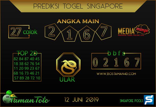 Prediksi Togel SINGAPORE TAMAN TOTO 12 JUNI 2019