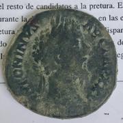 Sestercio de Marco Aurelio. COS III - S C. Marte avanzando a dcha. Roma. 53-DF77-BA-F970-4-F01-89-DA-88-FADF66-AAA3