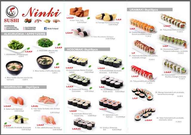 Tervetuloa tilaamaan Ninki Sushiin noutopalveluumme, meillä on alennus koronavirusjakson aikana. Tilaa WhatsAppin kautta: +358 456641668 tai soita: 0456641668, 0504760520