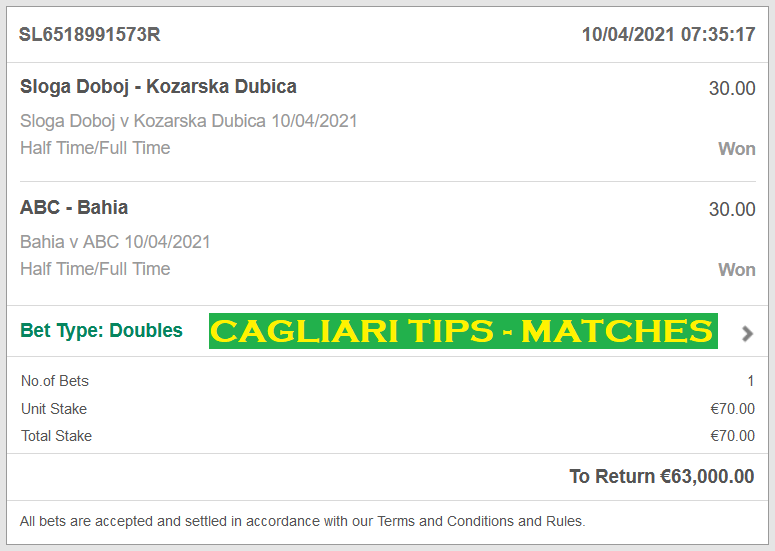 Official Proof For Cagliari DOUBLE HT / FT FIXED MATCHES FOR 10.04.2021