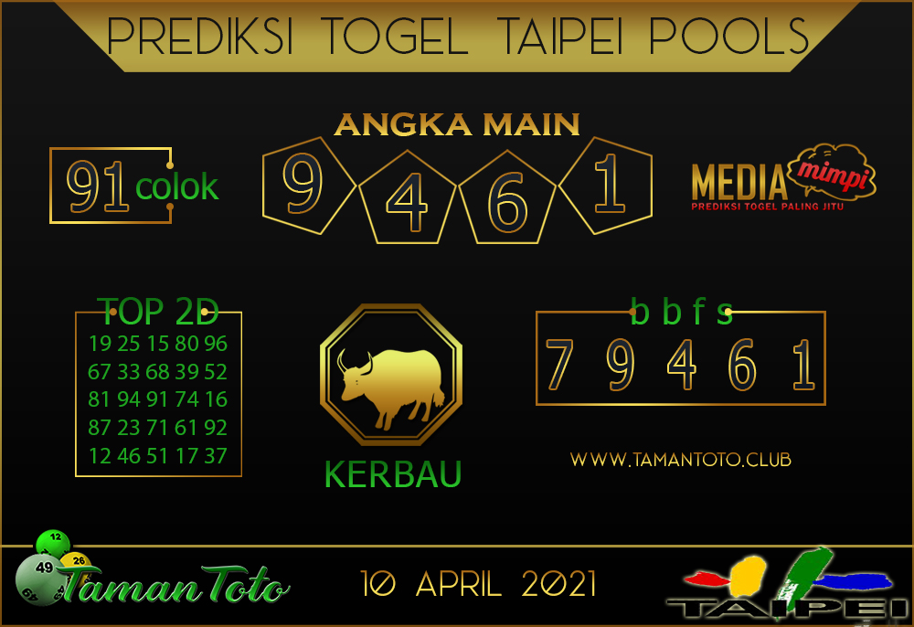 Prediksi Togel TAIPEI TAMAN TOTO 10 APRIL 2021
