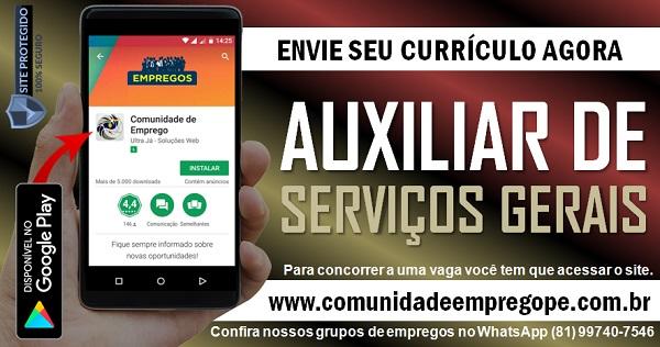AUXILIAR DE SERVIÇOS GERAIS PARA EMPRESA DO COMÉRCIO SITUADA NO RECIFE
