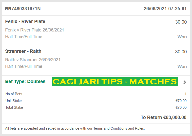 Official DOUBLE HT / FT Fixed Matches FOR CAGLIARI FIXED TIPS