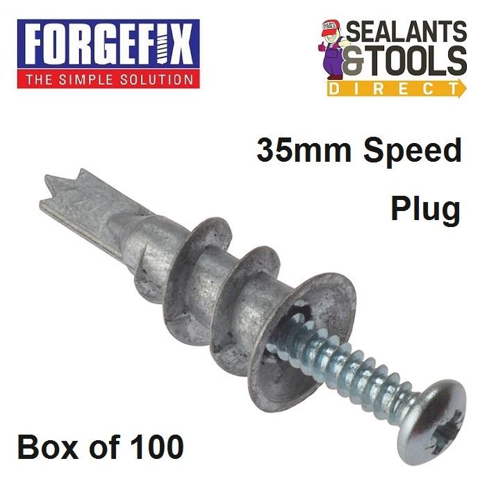 Forgefix Plasterboard Cavity Wall Metal Speed Plug 100pk MSP420