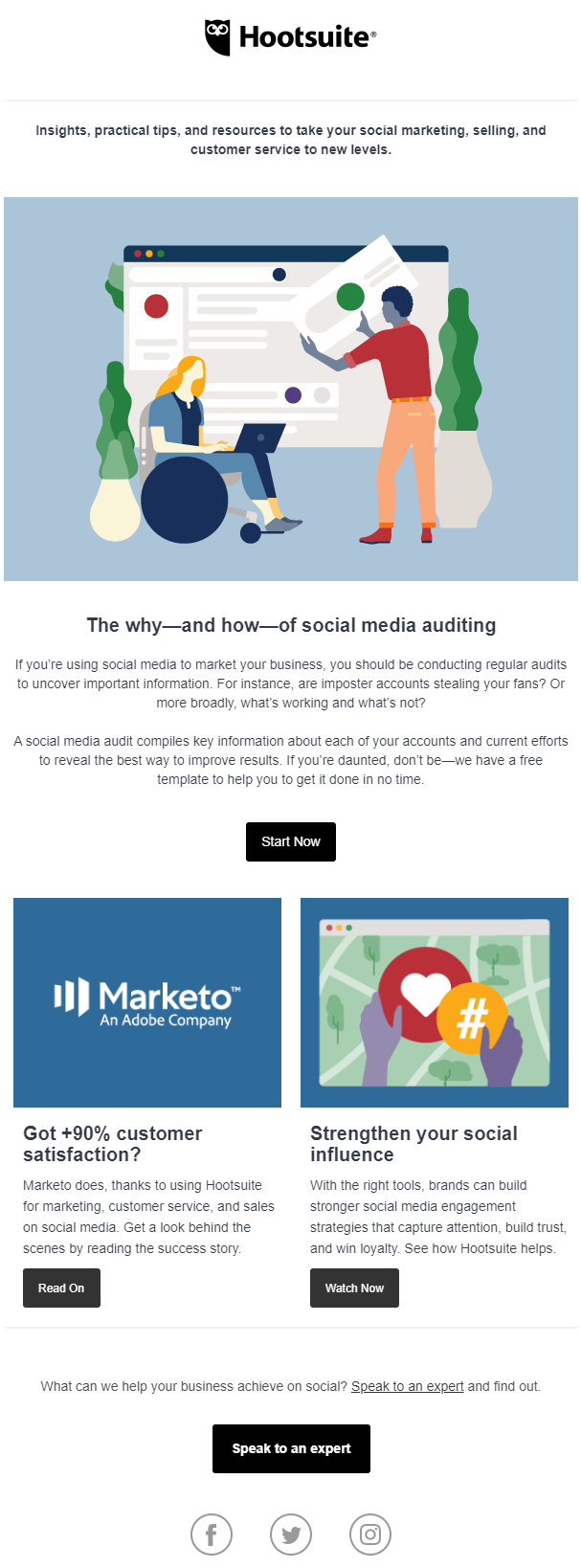 hootsuite's promotional email
