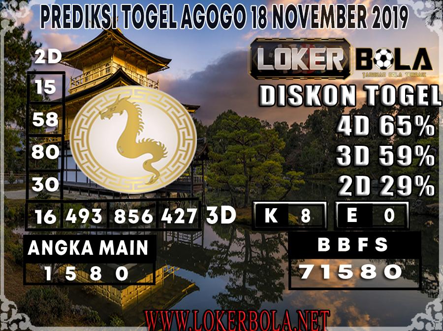 PREDIKSI TOGEL AGOGO LOKERBOLA 18 NOVEMBER 2019
