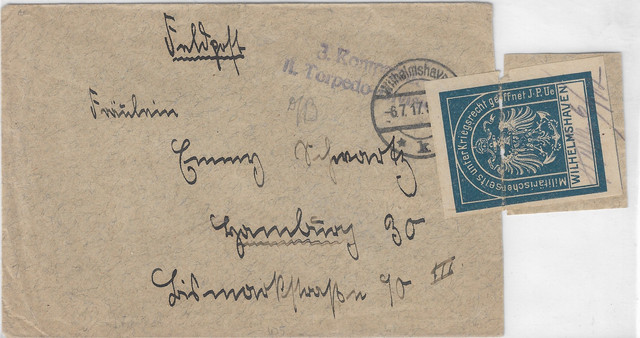 Germany-1917-7-6-FELDPOST-w-blue-CENSOR-label-3rd-Co-2nd-Torpedo-Div-front-115-VZ-MAYBE-I-SOLD-IN-20