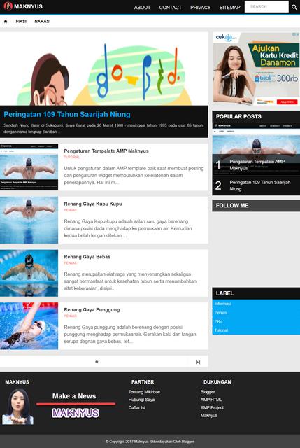 Maknyus Best Free AMP Blogger Templates