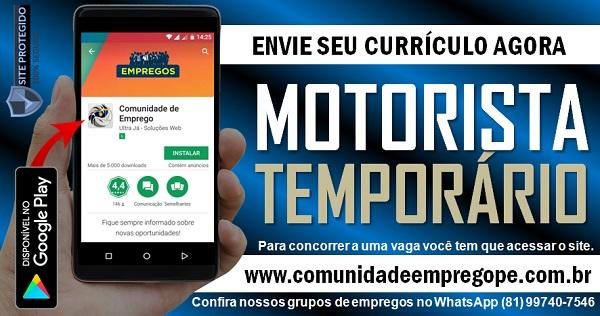 MOTORISTA PARA SERVIÇOS TEMPORÁRIO EM EMPRESA EM OLINDA