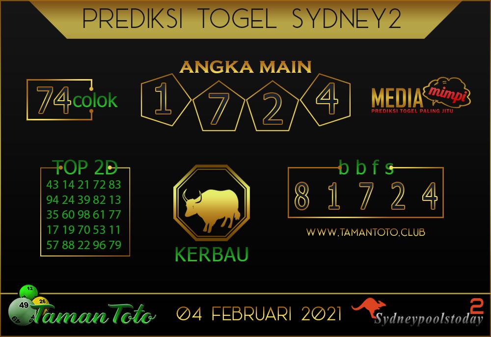 Prediksi Togel SYDNEY 2 TAMAN TOTO 04 FEBRUARI 2021