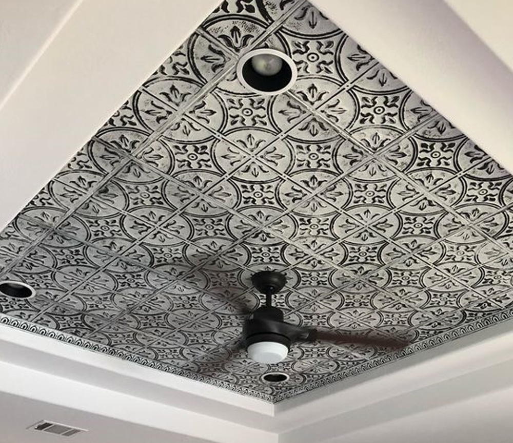 Tin Ceiling Tiles. Available in over 30 decorative patterns and 50 colors. Also offering, matching tin crown molding and installation accessories.