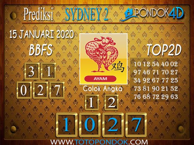 Prediksi Togel SYDNEY 2 PONDOK4D 15 JANUARI 2020