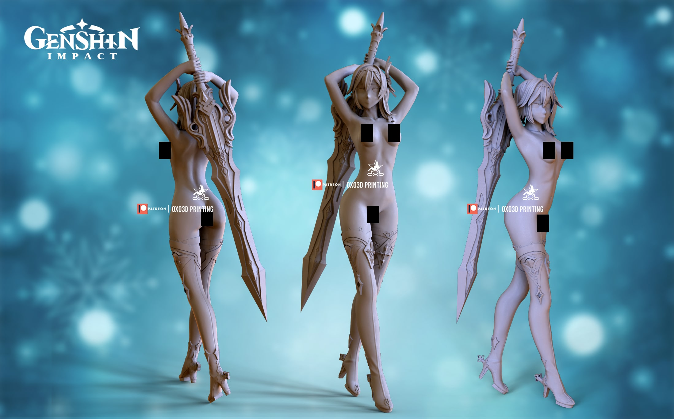 Eula/Yura From Genshin Impact 3D Print STL File - NSFW version without color