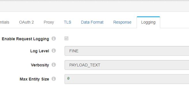 HTTP logging configuration