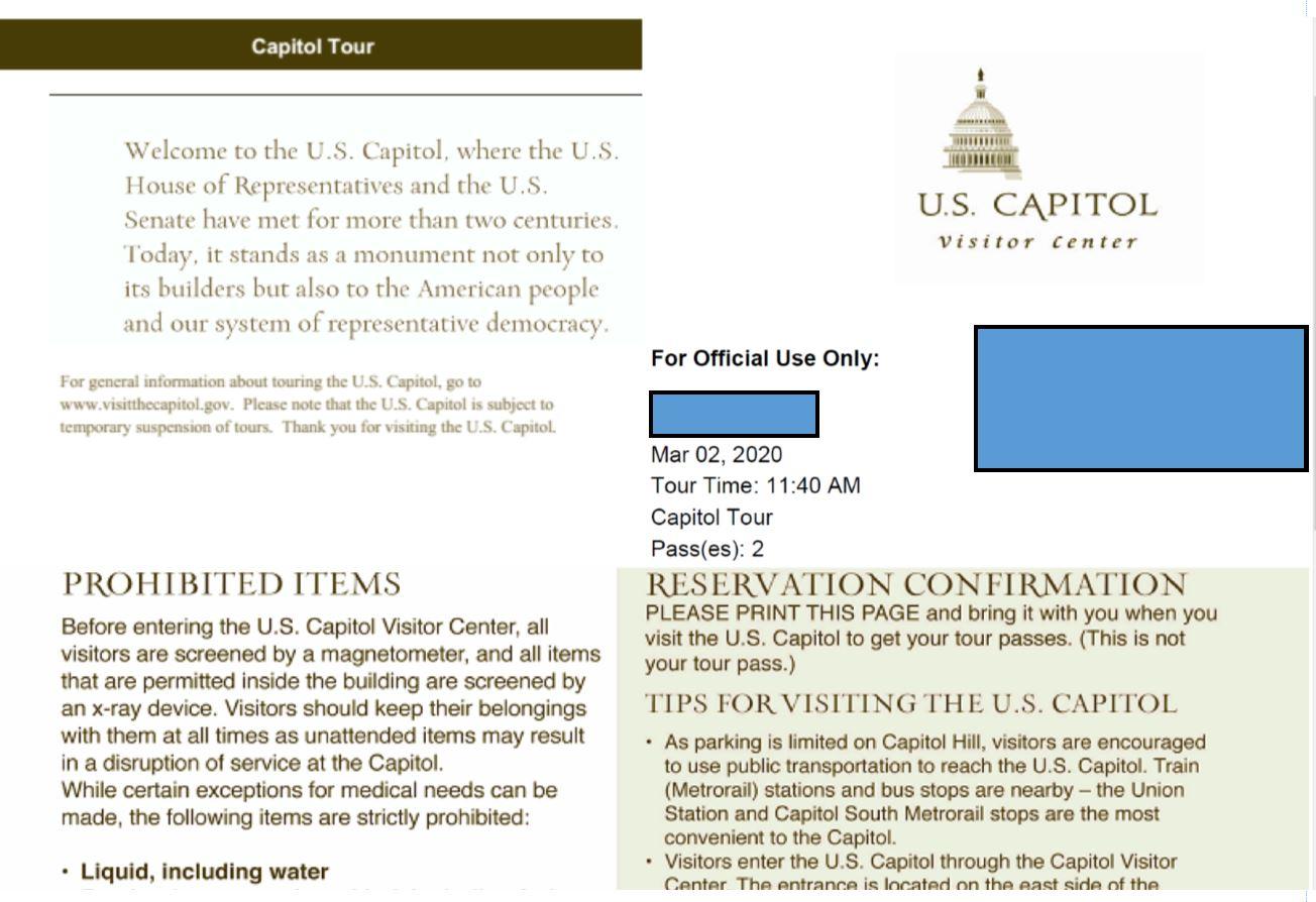 Посещение Капитолия в Вашингтоне DC. Март 2020 г.
