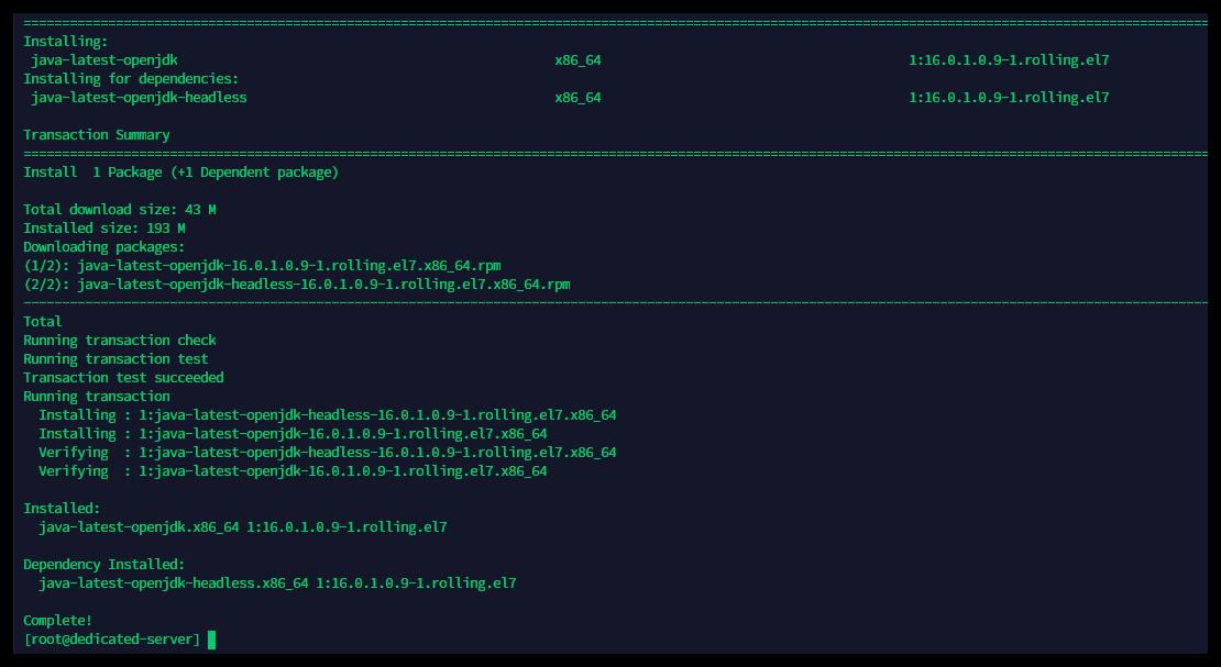 Download of Java 16 in progress