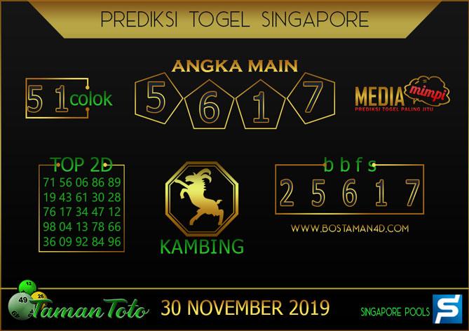 Prediksi Togel SINGAPORE TAMAN TOTO 30 NOVEMBER 2019