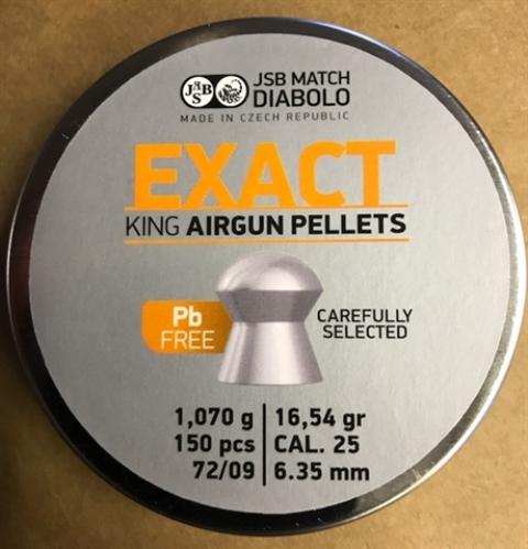 1.645 g 25.39 gr AIRGUN PELLETS JSB EXACT KING M 72//09  .25 6.35 mm 350 pcs