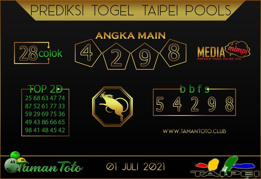 Prediksi Togel TAIPEI TAMAN TOTO 01 JULI 2021