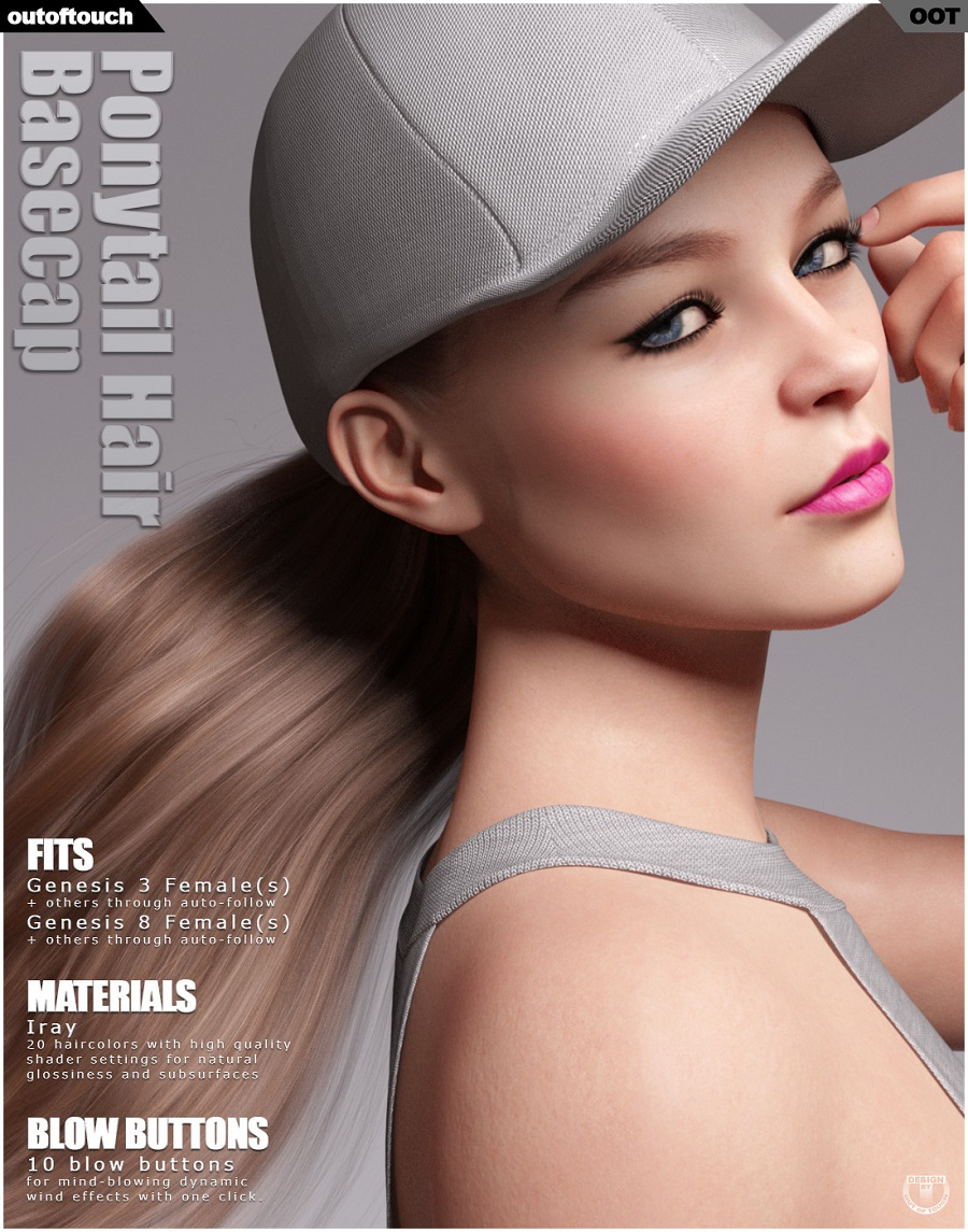 Basecap Ponytail Hair for Genesis 3 and 8 Female(s)