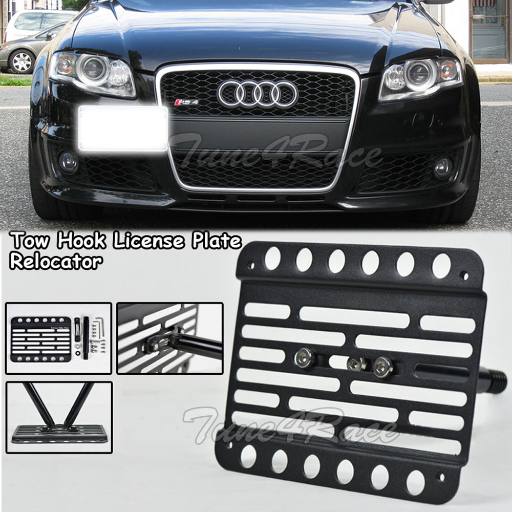 For 05 14 Audi A3 S3 Front Bumper Tow Hook Mount License Plate Relocated Bracket Ebay
