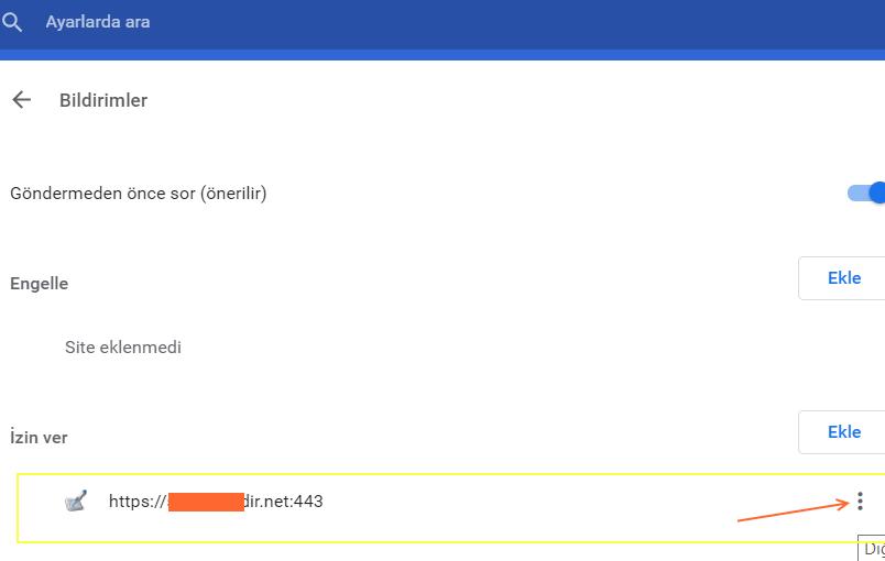 Chrome bildirim kaldırma