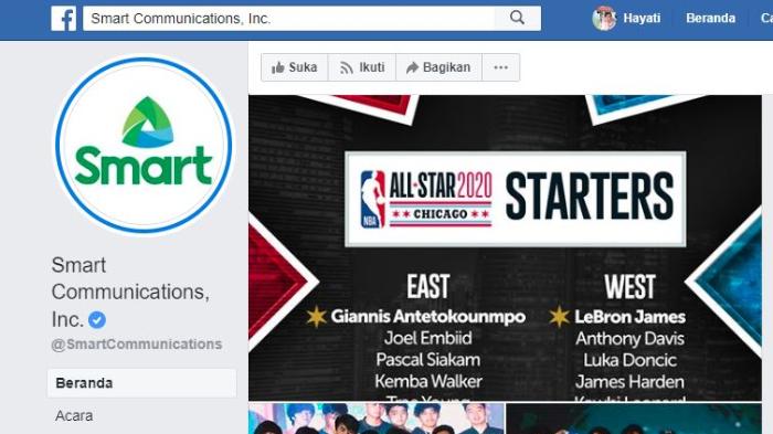 Laman Smart Communications di Facebook