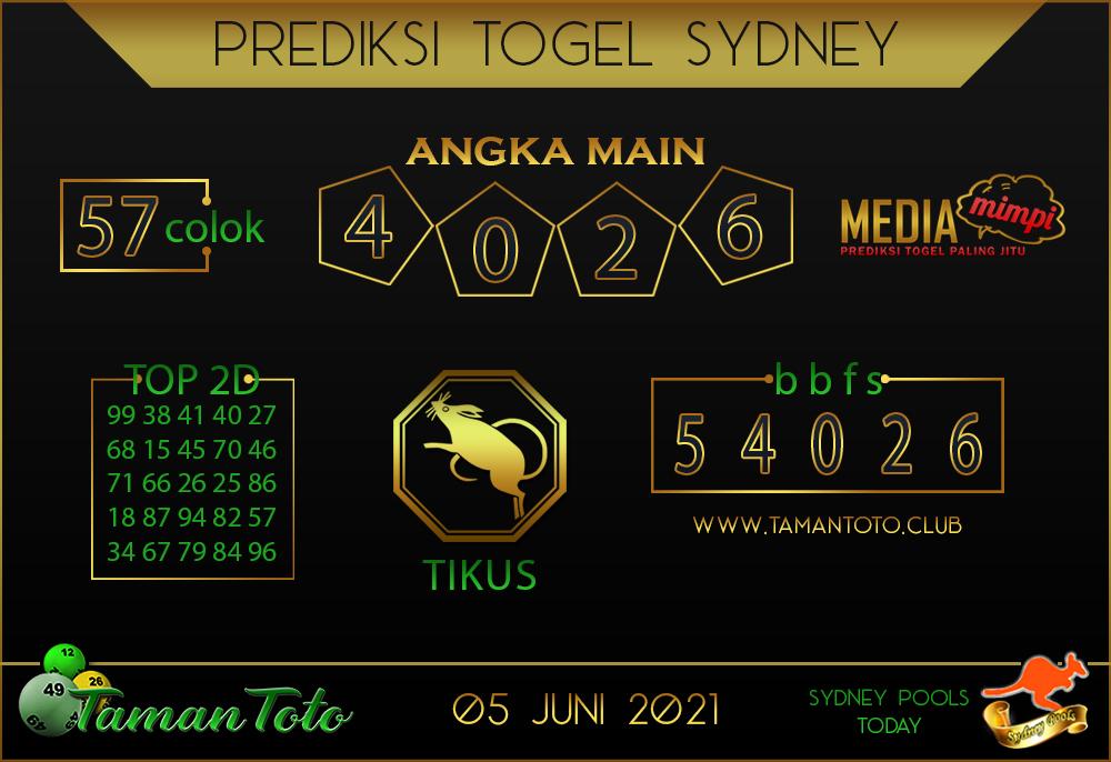 Prediksi Togel SYDNEY TAMAN TOTO 05 JUNI 2021