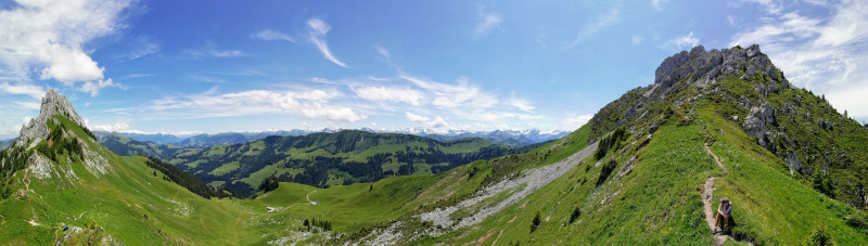 Panoramic view Bernese Alps in the background