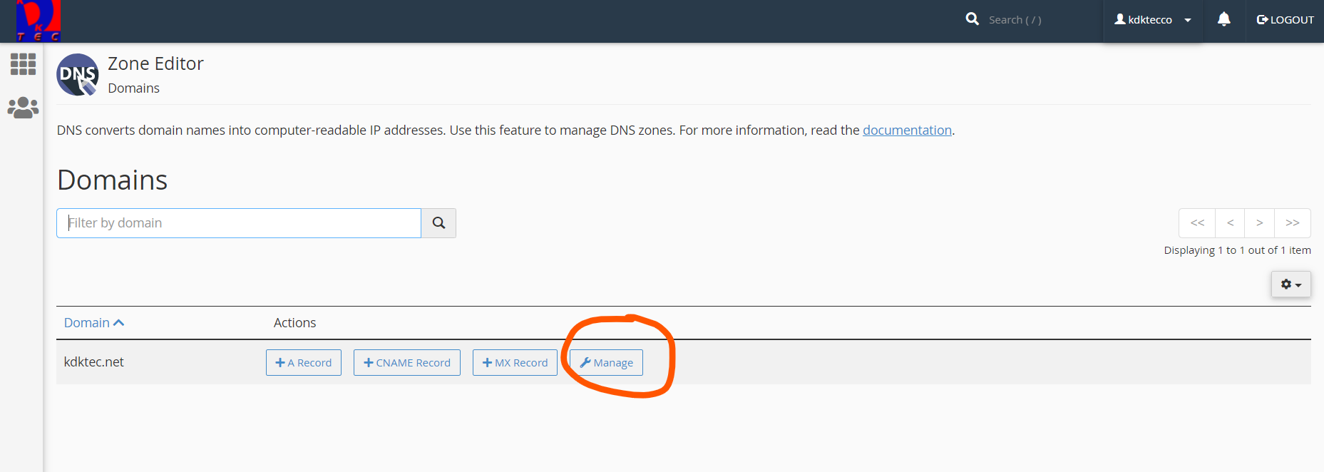 DNS Zone Editor primary domain manage feature