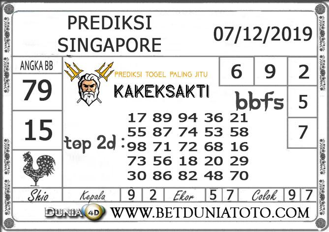 PREDIKSI TOGEL SINGAPORE DUNIA4D 07 DECEMBER 2019