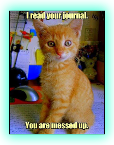 Link leads to the LOLcats site, picture shows a puzzled-looking orange-striped kitten sitting on a computer desk, facing the person taking the shot. In yellow print over the photograph, it reads 'I read your journal. You are messed up.'