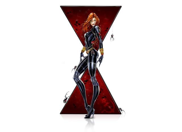 General 1920x1390 Black Widow Marvel Comics women redhead spider high heels boots artwork digital art fantasy art fantasy girl comic art comics simple background white background bodysuit