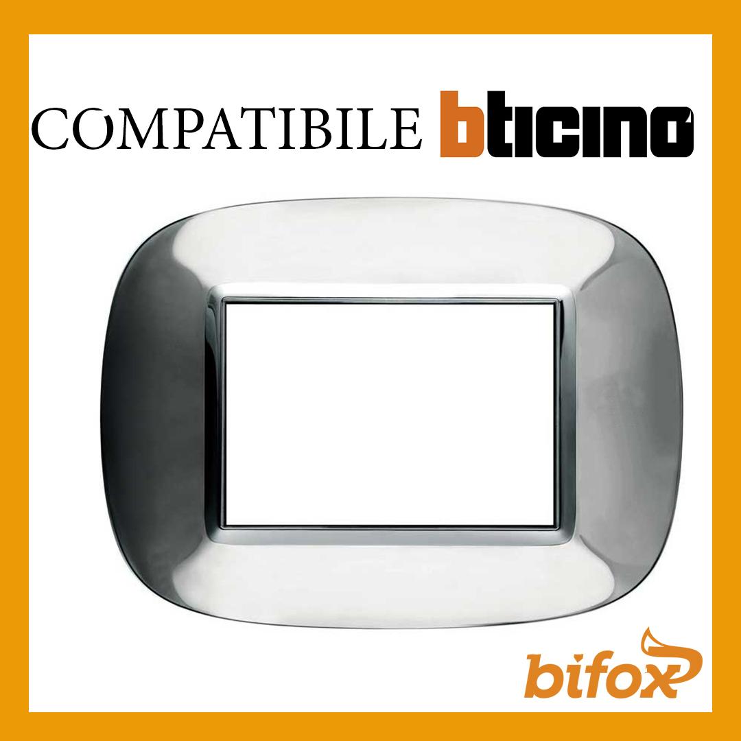 PLACCA AXOLUTE COMPATIBILE PER BTICINO 3 4 7 MODULI POSTI CROMATA INOX LUCIDA