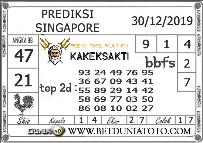 PREDIKSI TOGEL SINGAPORE DUNIA4D 30 DESEMBER 2019